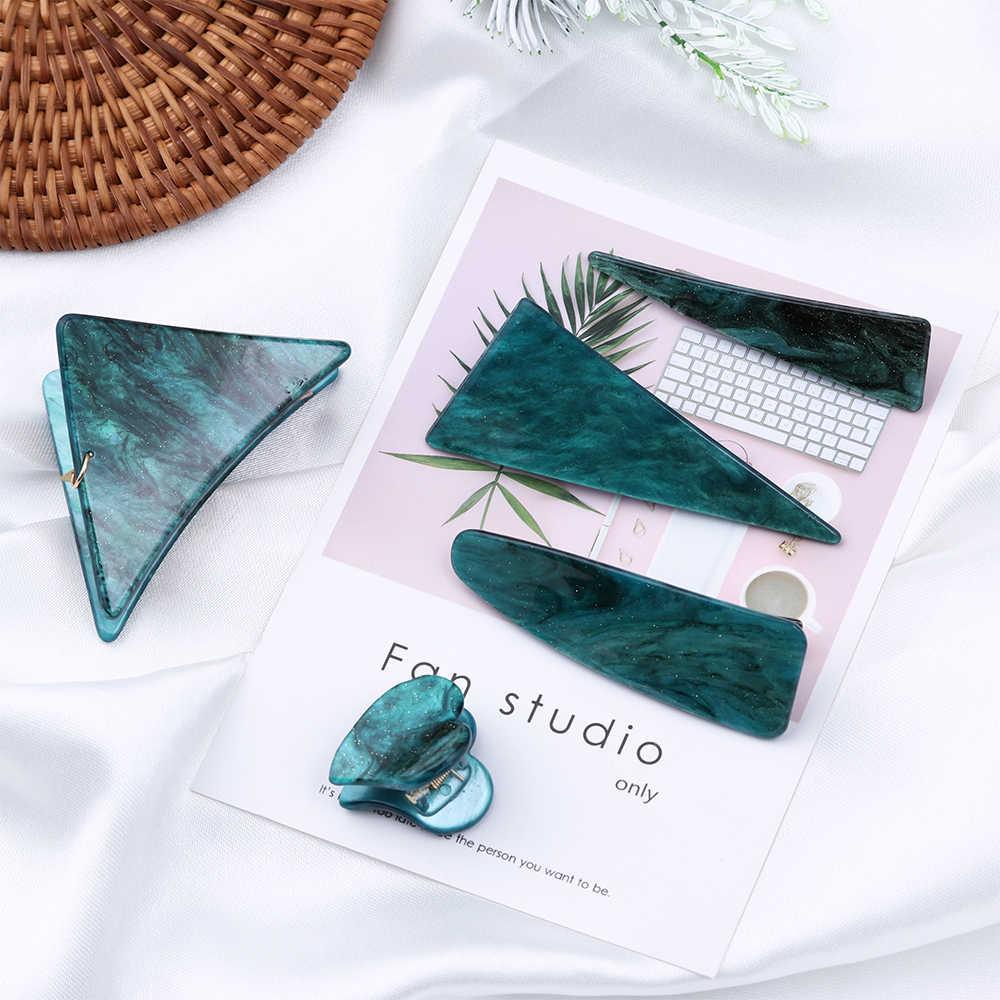 Винтаж изумруд серии геометрические треугольные шпильки и зажим, чтобы придать женщине индивидуальность Темперамент волос зажим, аксессуар для волос