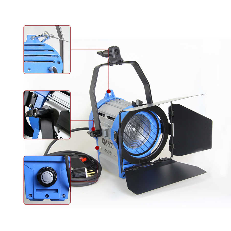 ALUMOTECH Dimmer + 650W Pro สำหรับการถ่ายภาพฟิล์มวิดีโอสตูดิโอ Fresnel ทังสเตนสปอตไลท์ + หลอดไฟ + Barndoor