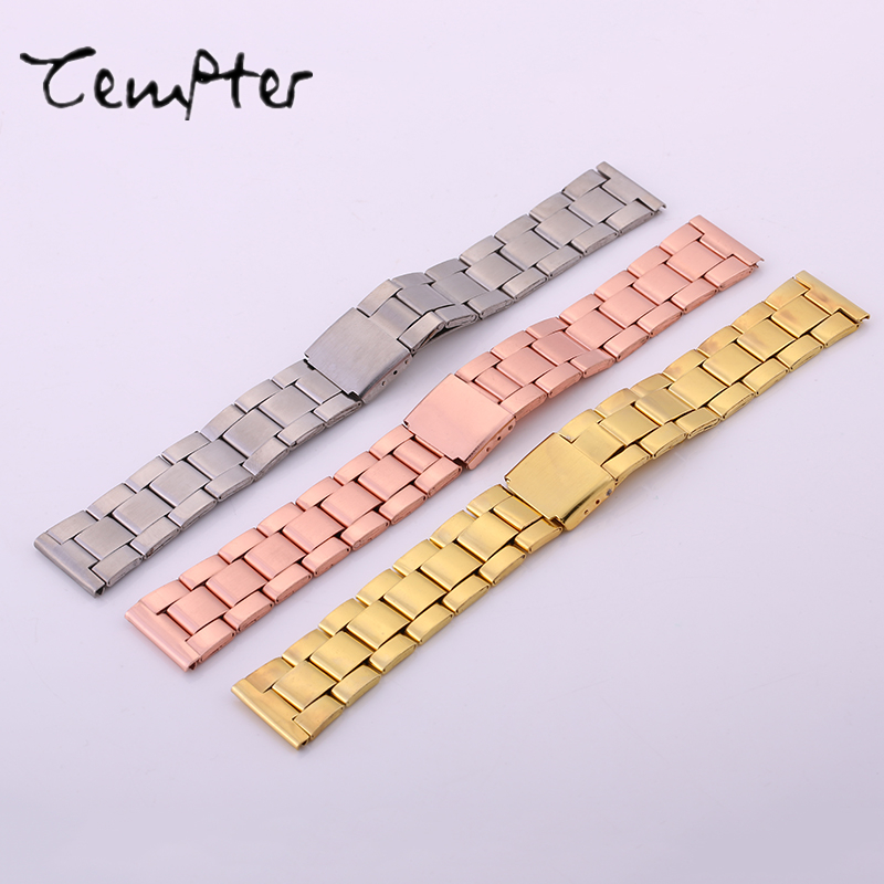 20MM Stainless Steel Watch band Strap Bracelet Watchband Wristband Silver Rose Gold High Quality Silver Bracelet Solid TEMPTER 16mm 18mm 20mm 22mm stainless steel watch band strap bracelet watchband wristband butterfly clasps black silver rose gold