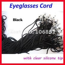 JX001 100 шт черный нейлоновый шнур очки солнцезащитные очки цепочка для очков подставка для очков для чтения с прозрачный силиконовый наконечник