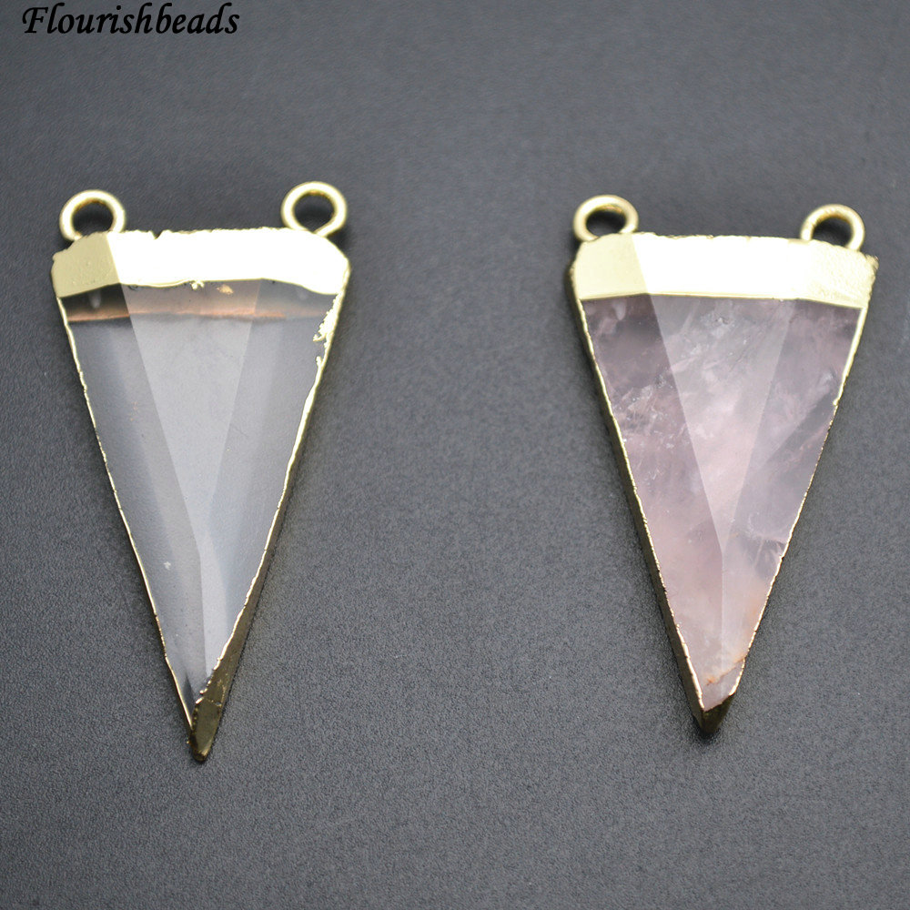 Natural Rose Quartz and Crystal Triangle Shape Two Loops on Top Stone Pendants