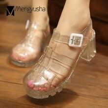 حذاء نسائي هلامي سميك ذو كعوب عالية ماركة شهيرة صندل شفاف لامع يغطي أصابع القدم حذاء مصارع sandalias للمطر c686