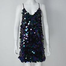 Smoves Backless V Neck Sparkle Shinny Halter Women Disc Sequin Slip Dress A-Line Evening Party Dress Summer Beach Sundress New