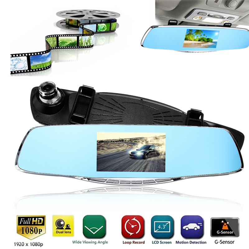 32G Full HD 1080P Car Dvr Camera Auto 4.6Inch Rearview Mirror Digital Video Recorder Dual Lens Registratory Camcorder