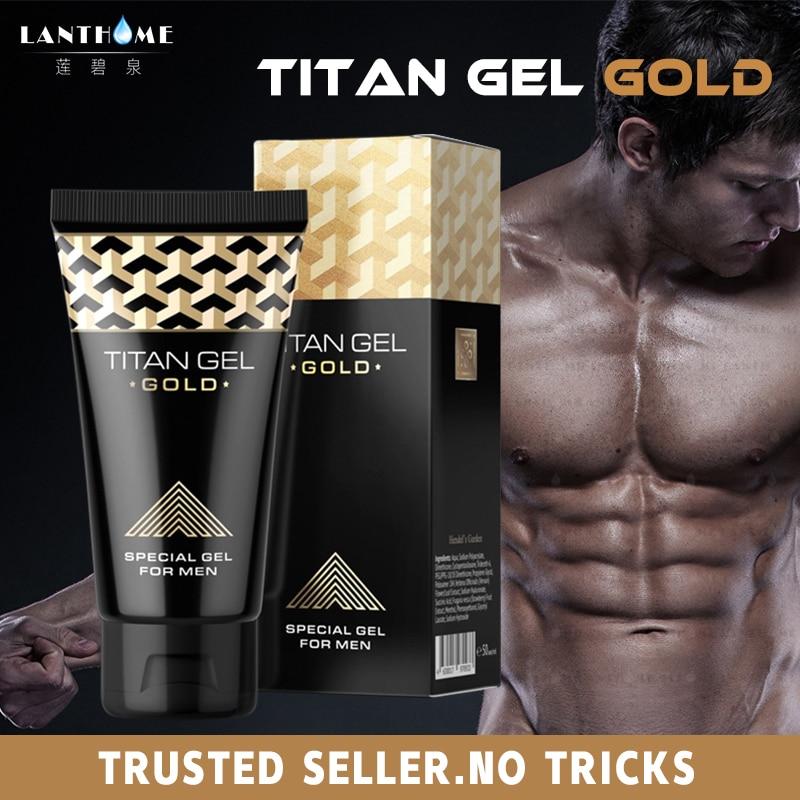 1pcs Original Titan Gel Gold Russia Penis Enlargement Cream Retarder Intim Gel For Help Male Potency Penis Growth Delay Cream