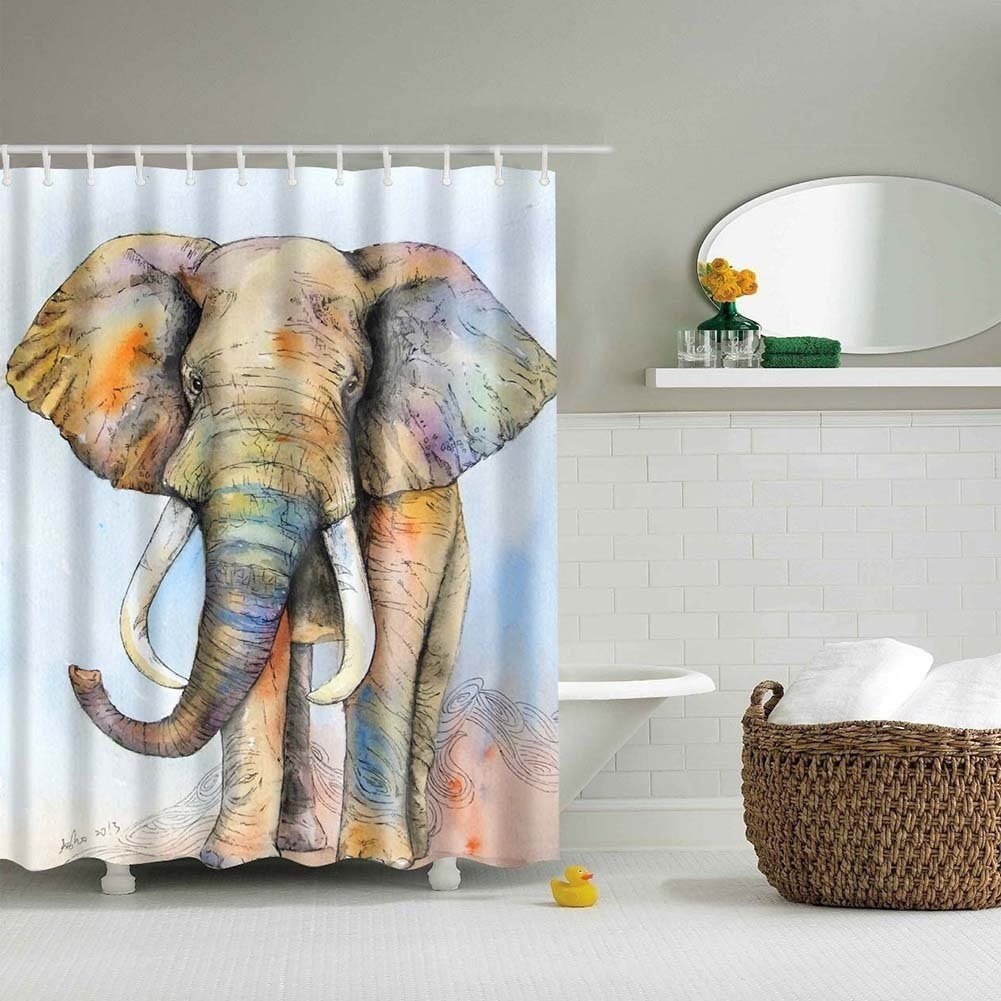 3D Elephant Animal Print Waterproof Bathroom Fabric Shower Curtain