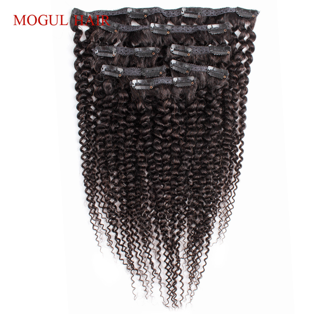 Mogul Hair Clip In Human Hair Extensions Afro Kinky Curly Human Hair 7Pcs/set Natural Color Brazilian Non Remy Hair 14-24 inch