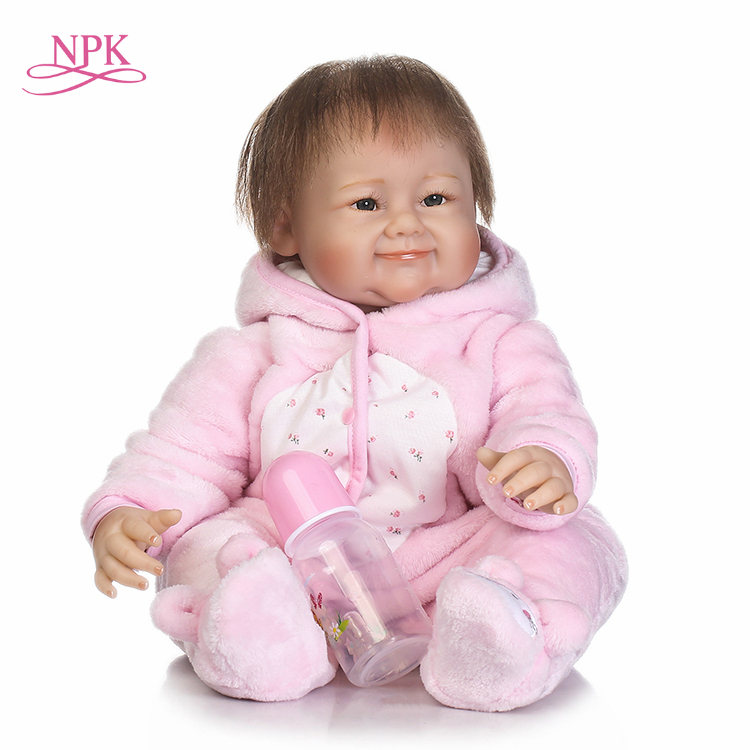 NPK NEW 22inch free shipping reborn baby doll silicone vinyl real touch hot selling wig hair cute doll gift for kids цена