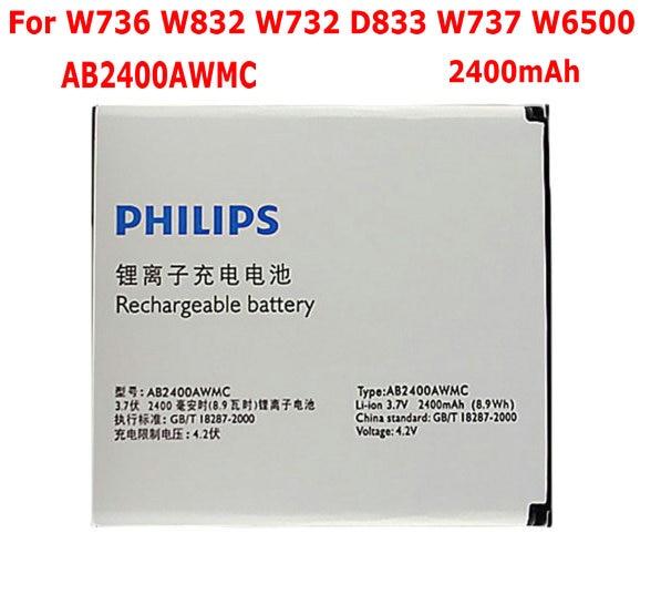 1PCS New 2400mAh Original battery for Philips Xenium W732 W736 W832 D833 W6500 AB2400AWMC Mobile Phone Batteries