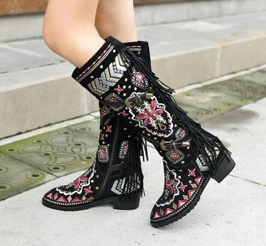 Fall winter retro tassels knee high boots short plush inside warm boots embroidered flowers square mid heel zipper closure boots