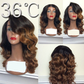 Ombre human hair wigs glueless #1B/#8 two tone lace front human hair wigs/full lace wig body wave with bleached knots freeship