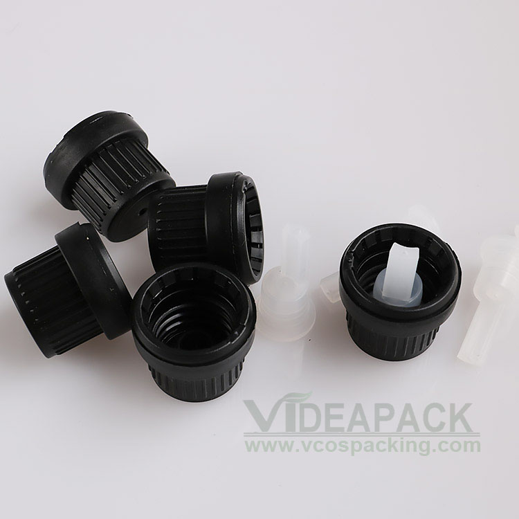 100 Pcs Black White Anti-theft Plastic Lid Glass Essential Oil Bottle Cover With Drip Plug 18mm Inner Diameter
