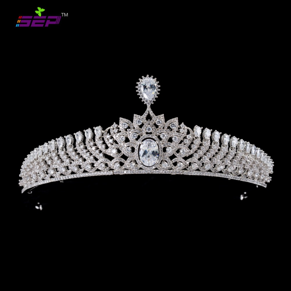 Classique Plein 5A CZ Zircon De Mariage Mariée Diadème Couronne Fille Cheveux Bijoux Accessoires Strass Cristaux Diadèmes S16413