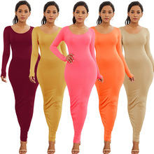 2019 Women Summer Autumn Sexy Casual Dress Vintage Sheath Fashion Long sleeve Skater dress Solid color O-Neck Maxi