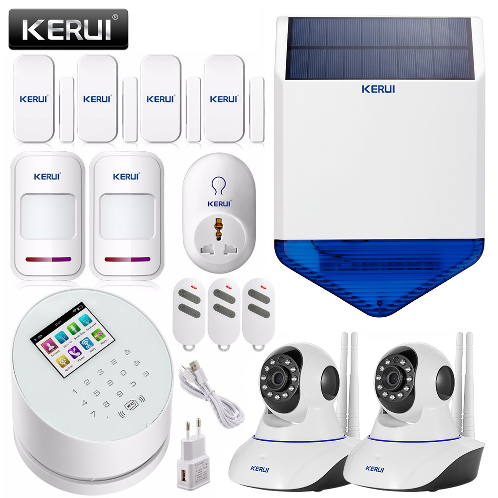 KERUI W2 Wifi GSM PSTN Smart home security alarm system+solar siren linkage wifi ip camera app remote control door sensor alarm original orvibo smart security kit alarm detector zigbee intelligent hub motion door sensor wifi ip camera app remote control