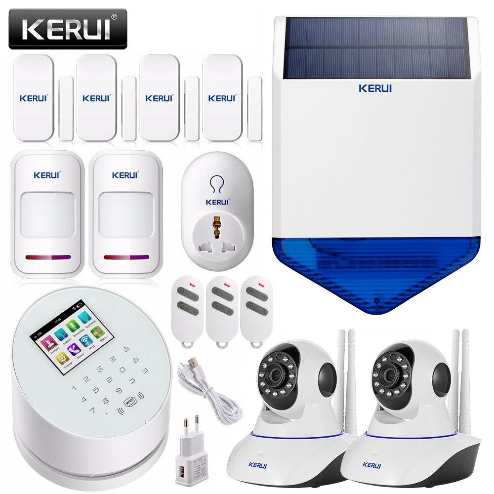 Kerui W2 Wifi Gsm Pstn Smart Home Security Alarm System Solar Siren 2 Transistor Electronic Linkage Ip Camera App Remote Control Door Sensor