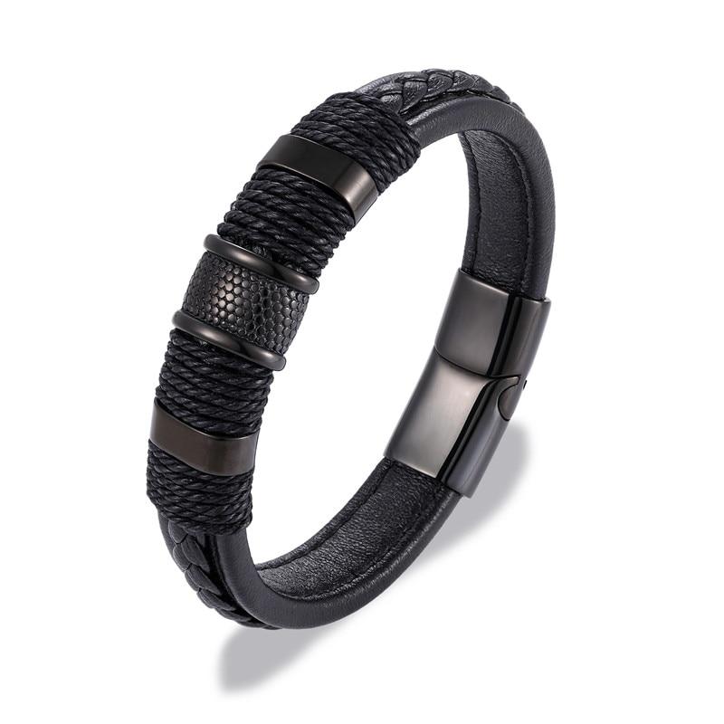 Fashion Black/Brown Braid Rope Genuine Leather Bracelet Stainless Steel Wrap Charm Bracelet Men Women Punk Luxury Jewelry homme