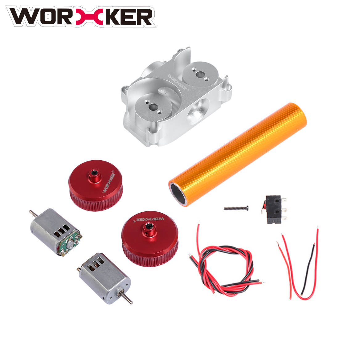 Worker Modified Parts Set Flywheel amp Motor Professional Toy Accessories for Nerf STF/CS-18(Power Type) - Red + Silver worker f10555 no 152 stf type b set professional toy gun accessories for nerf stryfe black