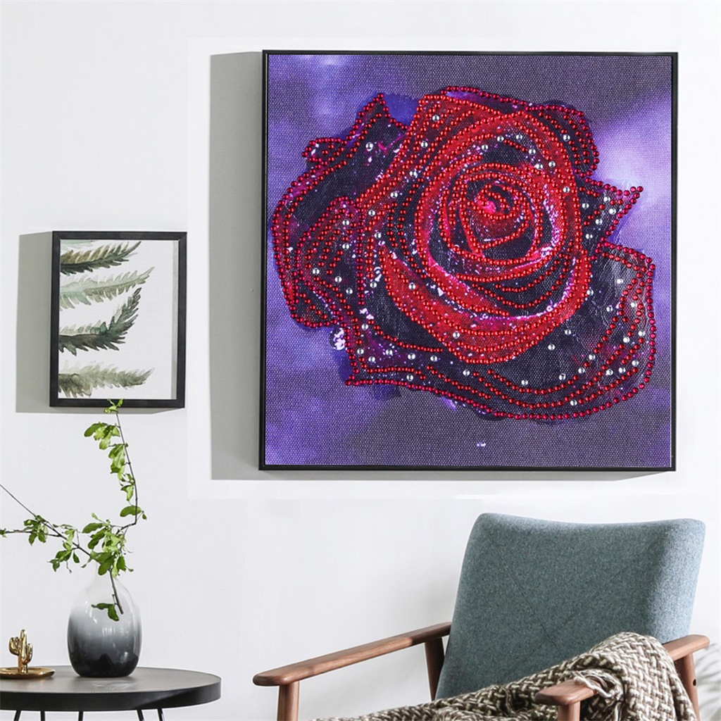 DIY 5D diamond embroidery circle diamond special shape cartoon painting Red rose rhinestone crystal painting home decoration