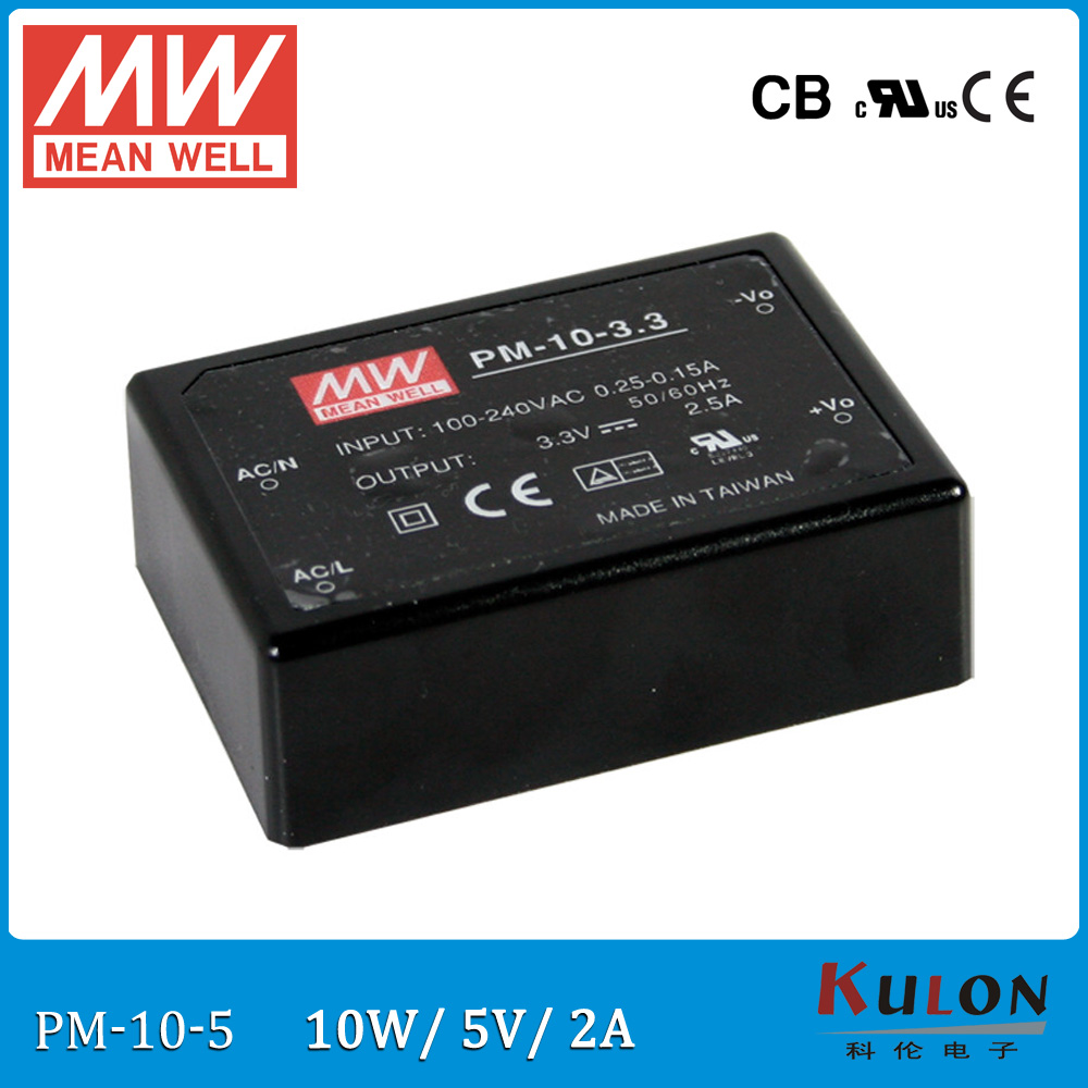 Original Meanwell PM-10-5 output 2A 5V 10W medical type switching power supply PM-10 Isolation class II fast delivery 2a 5v 10w ms 10 5 ip20 constant voltage 12v 10w switching model power supply ac to dc 10w 12v power supply