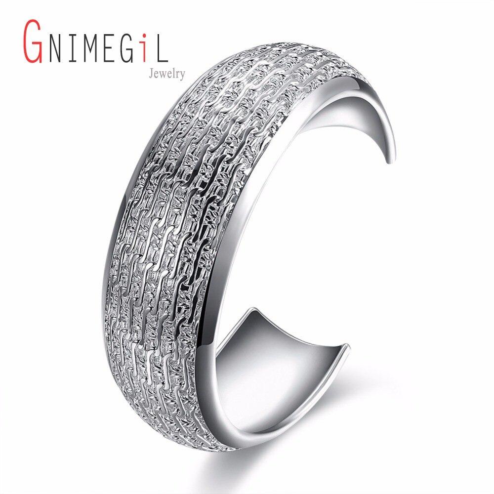 GNIMEGIL Brand Jewelry Top Quality Silver-Plated Carter Bracelet Bangle Wide Sculpture Ornament Big Cuff Bangle for Women