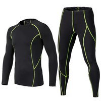 Men Compression Running Training Set Sports Soccer Basketball Leggings Tights Suits Fitness Yoga Joggers Shirt Tight