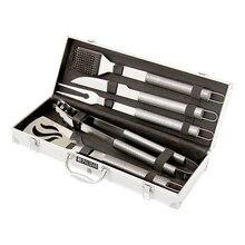 Набор для барбекю PALISAD 69579 (Лопатка для снятия мяса, вилка для мяса, нож, щипцы, щетка для чистки, материал пищевая нержавеющая сталь, ненагревающаяся рукоятка, кейс для транспортировки)