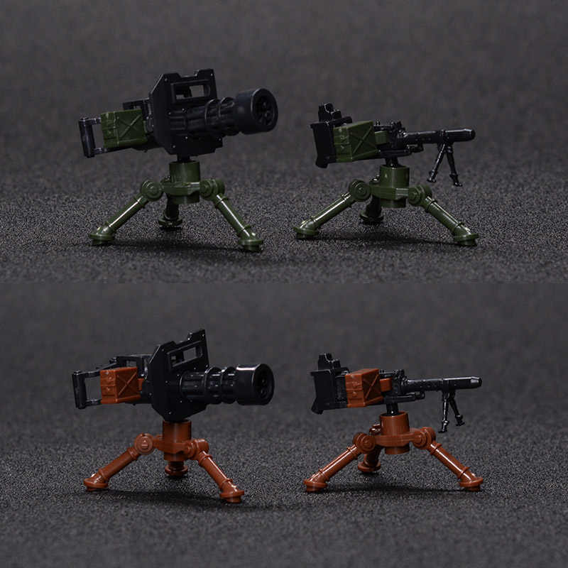 4Pcs Military Weapon Block City Army SWAT Gatling Gun Building Blocks Compatible Legoings DIY Toy For Kids