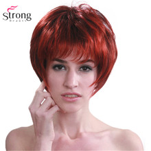 StrongBeauty Kırmızı mix Siyah Kısa Yumuşak Katmanlı Sevişmek Tam Sentetik Peruk Kadınlar için