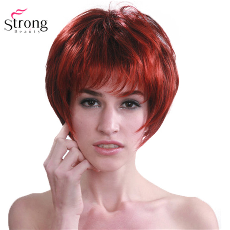 StrongBeauty Red Mix Black Short Soft Layered Shag Full Synthetic Wig For Women
