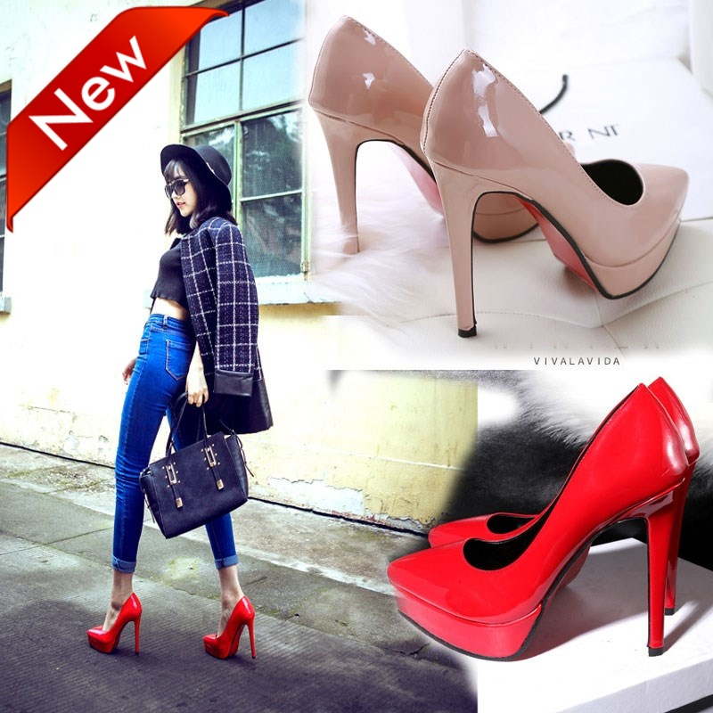 Wedding-Shoes Stiletto High-Heels 12cm Mouth Sexy Super-High American-Style with Womens