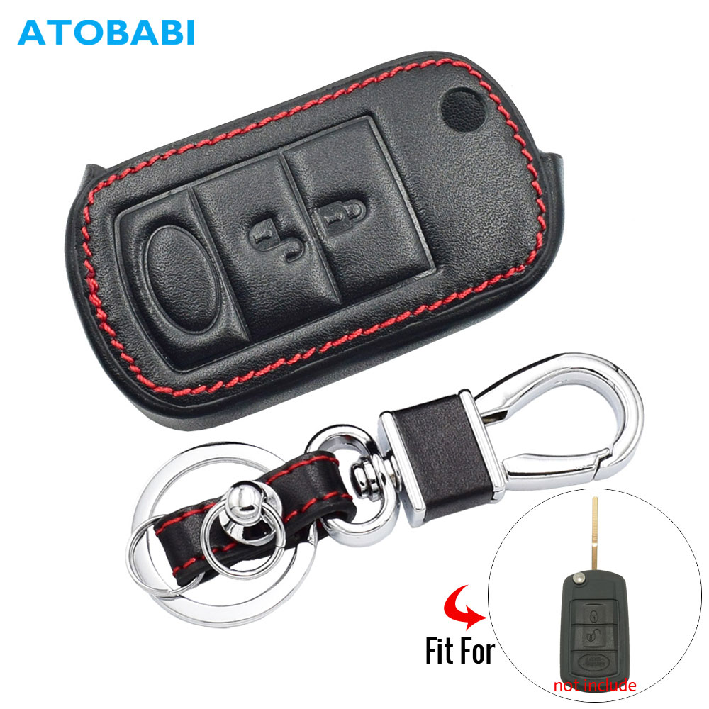 Leather Car Key Case For Land Rover Range Rover Sport LR3 Discovery 3 Buttons Folding Remote Fob Protector Cover Keychain Bag