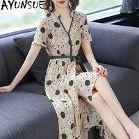 100% шелк летнее платье Для женщин Элегантный Boho пляжное платье мода горошек длинные платья вечерние V шеи Vestidos Verano 2019 KJ1825