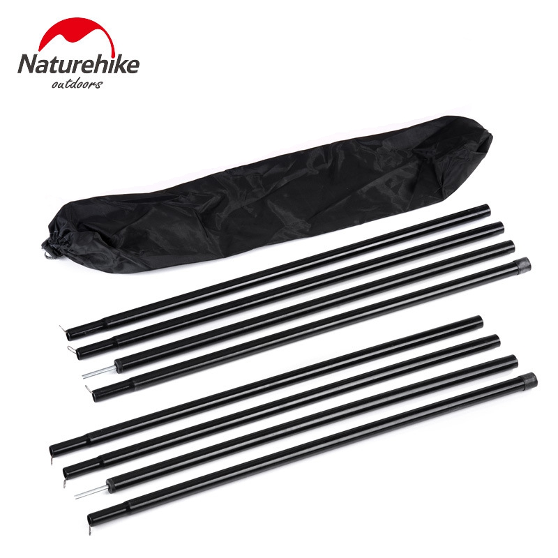 2Pcs NatureHike Black Reinforced Tent Poles Sherardized Steel Rod for Tent Awning Tar Tarpaulin For Sun Shelter Beach Tent