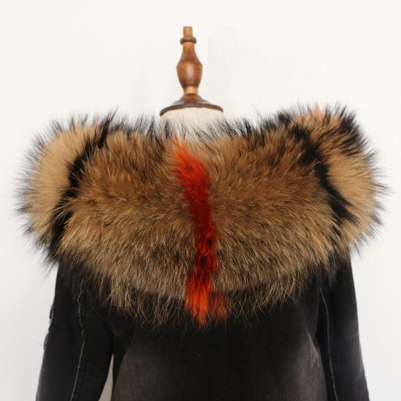 Women natural real fur raccoon scarf multicolor genuine fur cap collar 75cm luxury coat fur trim of down coat fur strip hooded