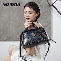 NIUBOA Hot Luxury Genuine Leather Bag Woman Handbags Tote Vintage Stylish Flower Lady Shoulder Bag Embossed