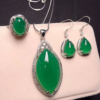 Yu Xin Yuan New Product 925 Silver Inlaid With Natural Jade Medullary Jujube Pendant Elliptical Ring Drop Earrings Three-piece S