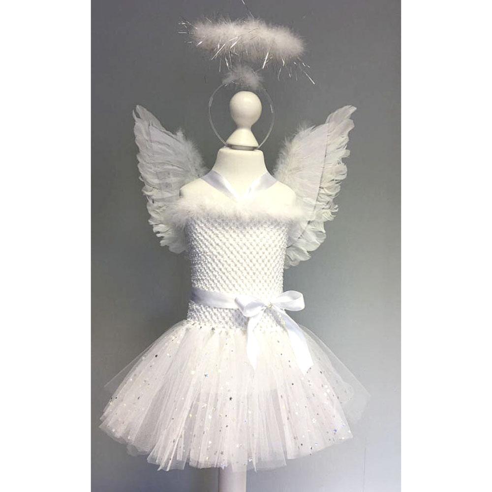 White Sparkle Girl Feather Angel Birthday Cosplay Tutu Dress Children Christmas Party Tutu Dresses with Wings and Fairy Wands the christmas angel