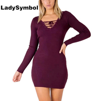 LadySymbol Lace Up Knitted Wool Sexy Bodycon Sweater Dress Women 2017 Autumn Casual Dress Elegant Mini