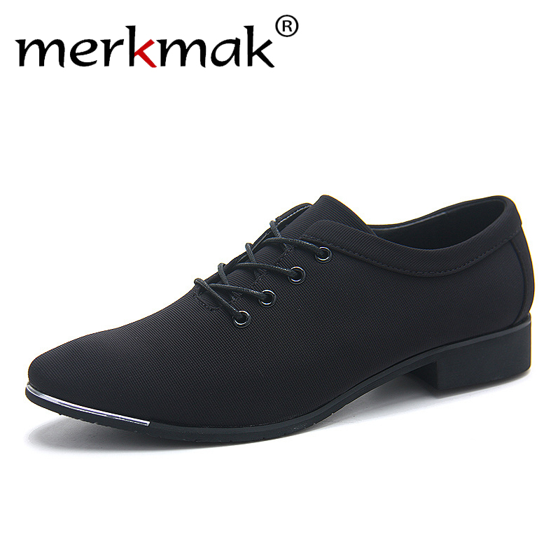 merkmak Office Men's Dress Suit Shoes Italian Style Wedding Casual Shoes Canvas Shoes Man Formal Low Heels Footwears Drop Ship