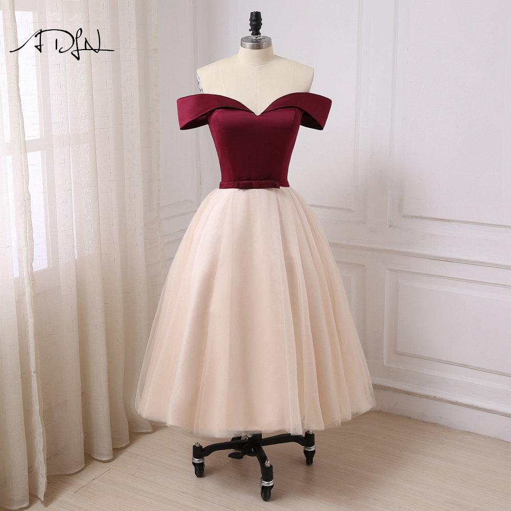 185a213d4ba Aliexpress.com   Buy ADLN Vintage Tea length Evening Dress Off the shoulder  A line Tulle Semi formal Party Gown Robe de Soiree Prom Dresses from  Reliable ...