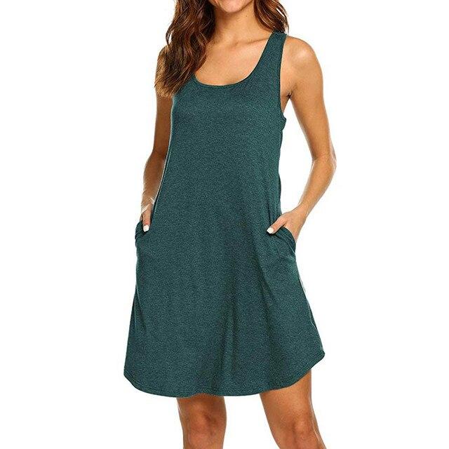 Women dress Fashion Summer Round Neck Sleeveless Leisure Dress elegant dress plus size vestidos de fiesta de noche M3Y