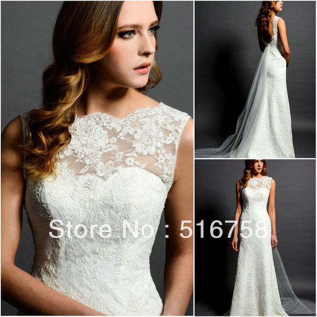 Simple Retro Bateau Neckline Sleeveless Sheath Wedding Gown Open ...