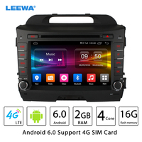 LEEWA 8 Android 6.0 (64bit) DDR3 2G/16G/4G LTE Quad Core Car DVD GPS Radio Head Unit For Kia Sportage/Sportage R(10~15) #CA2453
