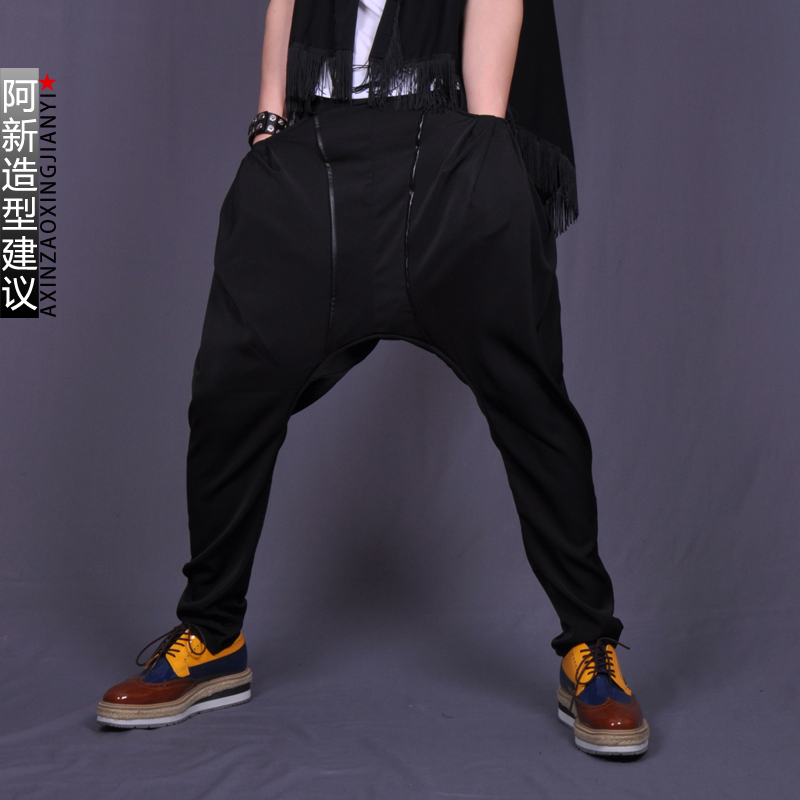 2020 Hot New Men Big Crotch Pants Personality Casual Loose Harem Pants Crotch Pants Low-rise Pants Black Nightclub Trousers