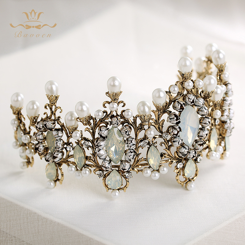 Bavoen Top Quality Elegant Retro Baroque Brides Hairbands Crown Nature Pearls Wedding Tiara Headpieces Prom Hair Accessories