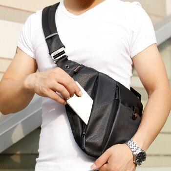 Men Sport Bag Anti Bag Theft Safety Bag PU Chest Sport Burglarproof Shoulder Bag Passport Card Digital Travel Organizer недорого