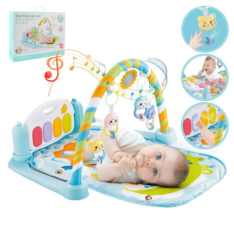 0-12Months Baby Play Carpet Mat Fitness Bodybuilding Set Toy Frame Pedal Piano Music Carpet Gym Kick Play Lay Sit Toy For Babies