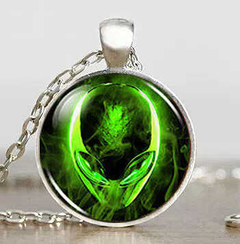 Steampunk Space Alien Universe UFO Galaxy Pendant Necklace glass 1pcs/lot mens women handmade jewelry dr who chain