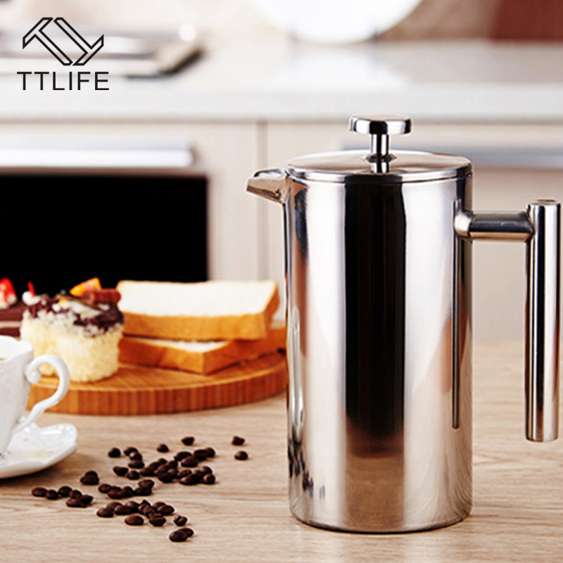 TTLIFE Polished Delicate Double Wall Stainless Steel French Press Coffee Pot Maker Coffee Tea with Filter 0.3L 0.8L 1L